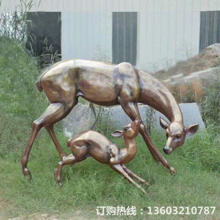 玻璃钢仿铜母子鹿雕塑,玻璃钢鹿雕塑