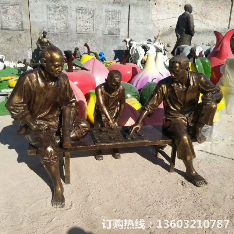 玻璃钢仿铜人物雕塑,公园下棋人物雕塑